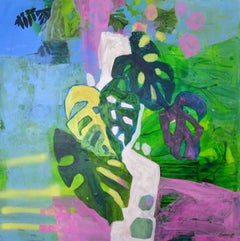A composition with monstera -  Contempory abstraction, Acrylics, Bright colors