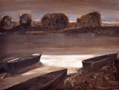 Boats - XXI Century, Contemporary Figurative Oil Painting, Landscape