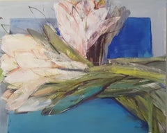 Tulips on blue background - XXI century, Oil Painting, Figurative, Flowers
