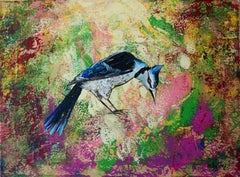 Gardens of Delight X - XXI century figurative oil painting, Birds, Colorful