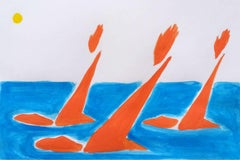 Swimmers - Figurative Acrylic Painting on Paper, Vibrant colors, Abstraction