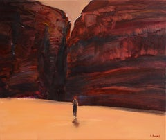 On the desert II - Oil on canvas, Figurative painting, Landscape, Warm tones