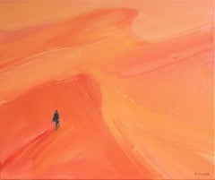 On the desert V - Oil on canvas, Figurative painting, Landscape, Warm tones