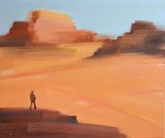 On the desert VII - Oil on canvas, Figurative painting, Landscape, Warm tones