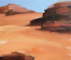 On the desert VIII - Oil on canvas, Figurative painting, Landscape, Warm tones
