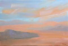 Duskon the desert I - Oil on canvas, Figurative painting, Landscape, Warm tones