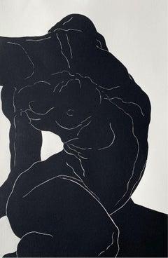 Body I - Young artist, Figurative print, Linocut, Black & white