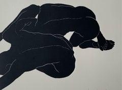 Configuration I - Young artist, Figurative print, Linocut, Black & white