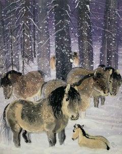 Tarpans - Contemporary art, Figurative Painting, Animals, Classics, Art master