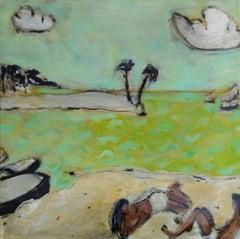 Caletón - Contemporary oil on canvas painting, Warm tones, Figurative, Landscape