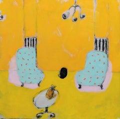 Havana Drean - Contemporary oil on canvas painting, Vibrant warm tones, Interior