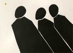 A sun - Figurative Acrylic Painting on Paper, Young art, Minimalism