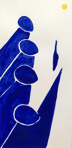 A sun - Figurative Acrylic Painting on Paper, Young art, Minimalism, Vibrant