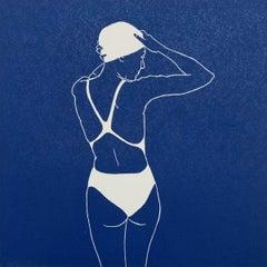Swimmer II - Monochromatic Figurative Linocut Print, Woman, Blue