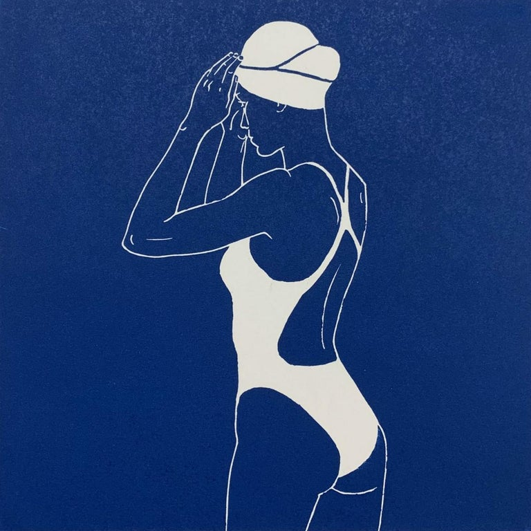 Agnieszka Borkowska Figurative Print - Swimmer III - Monochromatic Figurative Linocut Print, Woman, Blue