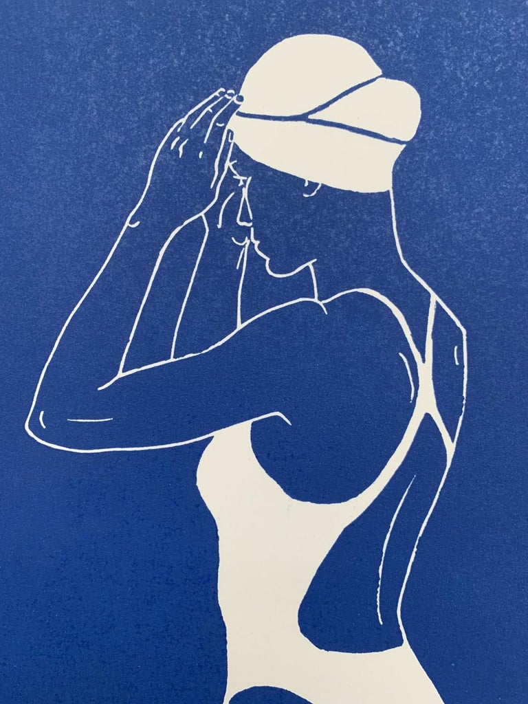 Swimmer III - Monochromatic Figurative Linocut Print, Woman, Blue For Sale 1