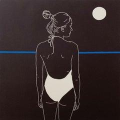 The moon mood - Monochromatic Figurative Linocut Print, Woman, Blue