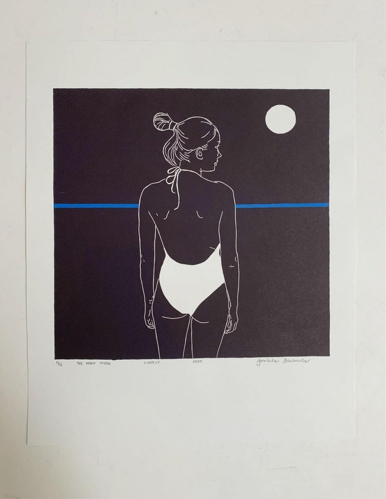 The moon mood - Monochromatic Figurative Linocut Print, Woman, Blue - Black Figurative Print by Agnieszka Borkowska