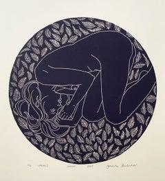 Spring I - Monochromatic Figurative Linocut Print, Woman, Royal Blue
