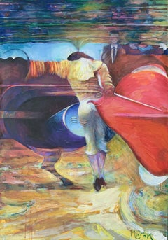 Matador - Contemporary colorful figurative & abstraction painting, oil, acrylics