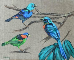 Gardens of delight 12 - Figurative painting, Birds, Realistic, Vibrant colors