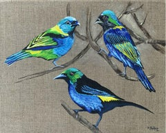 Gardens of delight 11 - Figurative painting, Birds, Realistic, Vibrant colors