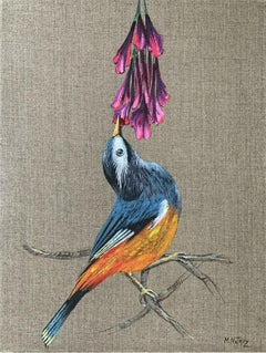 Untitled - Figurative acrylic painting, Birds, Realistic, Vibrant colors