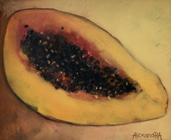 Lying papaya - Contemporary figurative oil painting, warm tones, still life