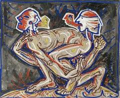 Indecision  - XX Century, Colorful mixed media painting, gouache & acrylic