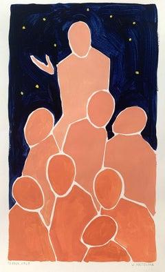 Prophet - Figurative Acrylic Painting on Paper, Young art, Minimalism, Vibrant