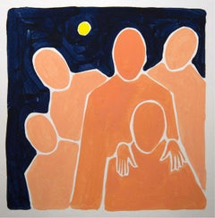 Full moon- Figurative Acrylic Painting on Paper, Young art, Minimalism, Vibrant