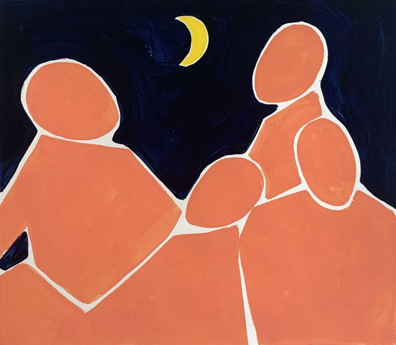 Night conversation - Figurative Acrylic Painting on Paper, Young art, Minimalism