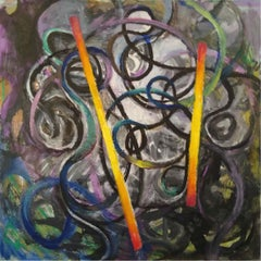 A cirlce - Contemporary colorful abstraction painting, ink, oil, acrylics