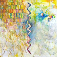 On an axis - Contemporary colorful abstraction painting, ink, oil, acrylics