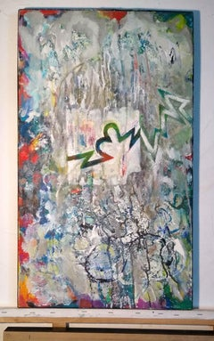 Composition C - Contemporary colorful abstraction painting, ink, oil, acrylics