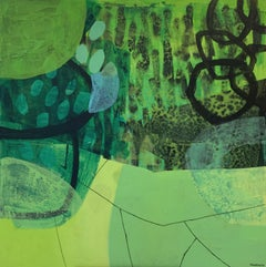 Black grass  -  Contempory abstract, Oil, Colorful, Green & blue