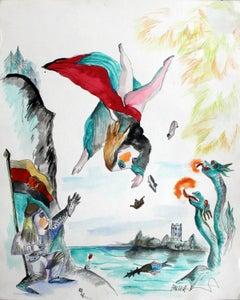 Fighting the dragons - XXI century, Watercolour figurative, Colourful