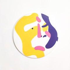 Mirror self-portrait - Tondo, Colorful & vibrant, Young art, Abstraction
