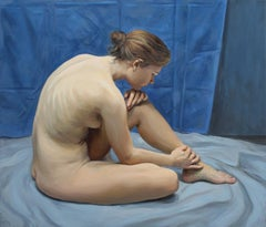 Absent-minded - Contemporary Figurative Oil Painting, Nude, Realistic painting