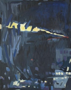 Winter - a dusk -- Contemporary oil abstract paintint, Navy blue, Dark colors
