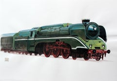 A locomotive - Contemporary Watercolor & Ink Painting, Realistic Train