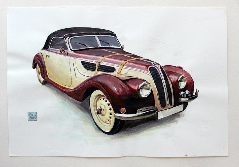 BMW 327 - XXI Century, Contemporary Watercolor & Ink Painting, Vehicle, Car - Realist Art by Mariusz Szałajdewicz