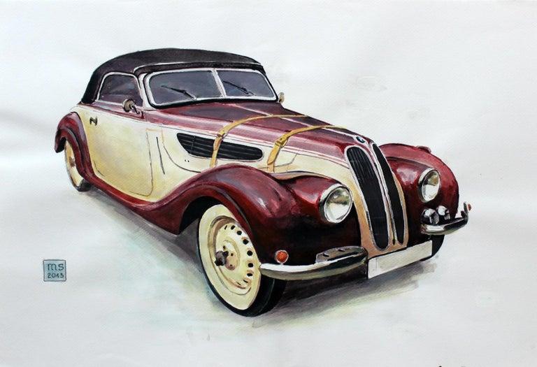 Mariusz Szałajdewicz Figurative Art - BMW 327 - XXI Century, Contemporary Watercolor & Ink Painting, Vehicle, Car