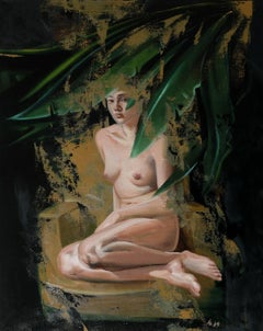The Edge of the night - XXI Century, Contemporary Figurative Nude Oil Painting