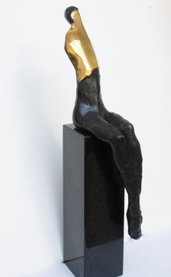 A Sitting Nude, Contemporary Bronze Figurative Original Sculture