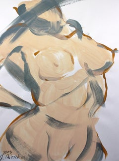 Nude - XXI century, Contemporary Figurative Acrylic Painting, Muted Colors