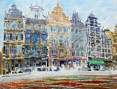 Brussels - the Townhouses - 21 century watercolor painting, Landscape, Realistic