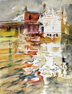 Bombay - 21 century, Watercolor painting, Landscape, Architecture, Colorful