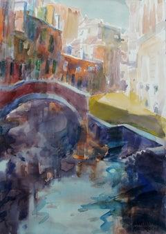 Venice - the Marcello bridge - 21 century, Watercolor painting, Landscape