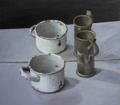 Still Life with Black Background- Contemporary Figurative Realistic Oil Painting